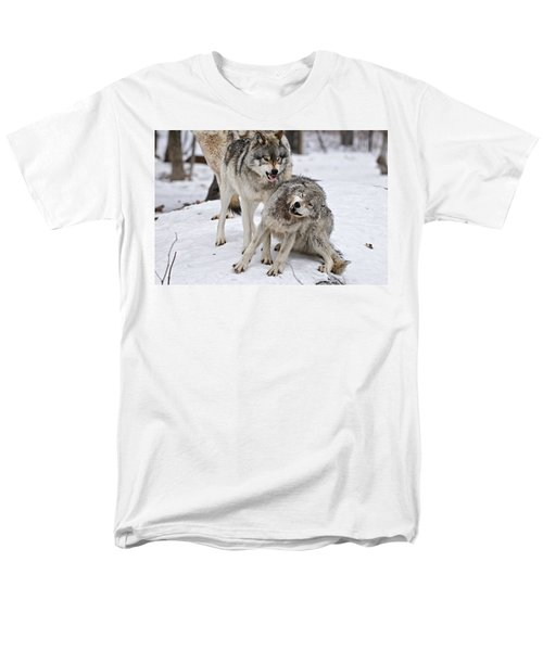 Men's T-Shirt  (Regular Fit) featuring the photograph Timber Wolves In Winter by Michael Cummings