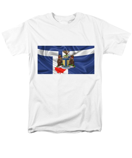 Toronto - Coat Of Arms Over City Of Toronto Flag  Men's T-Shirt  (Regular Fit) by Serge Averbukh