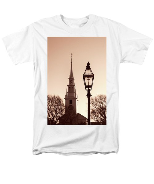Men's T-Shirt  (Regular Fit) featuring the photograph Trinity Church Newport With Lamp by Nancy De Flon