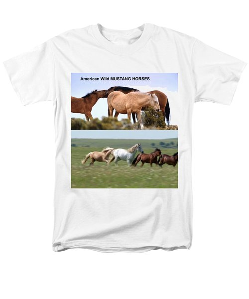 Twin Photos Awesome North American Mustangs Horses Cowboys Photography See On Posters Pillows Curtai Men's T-Shirt  (Regular Fit) by Navin Joshi