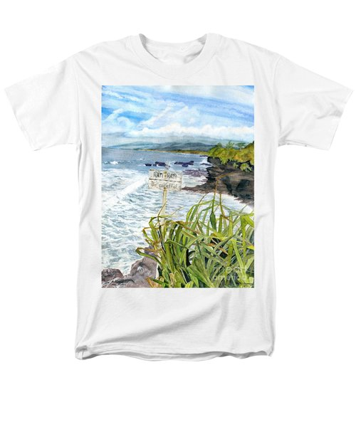 Men's T-Shirt  (Regular Fit) featuring the painting View From Tanah Lot Bali Indonesia by Melly Terpening