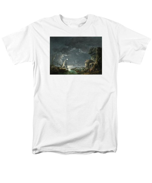 Men's T-Shirt  (Regular Fit) featuring the painting View Of A Moonlit Mediterranean Harbor by Carlo Bonavia