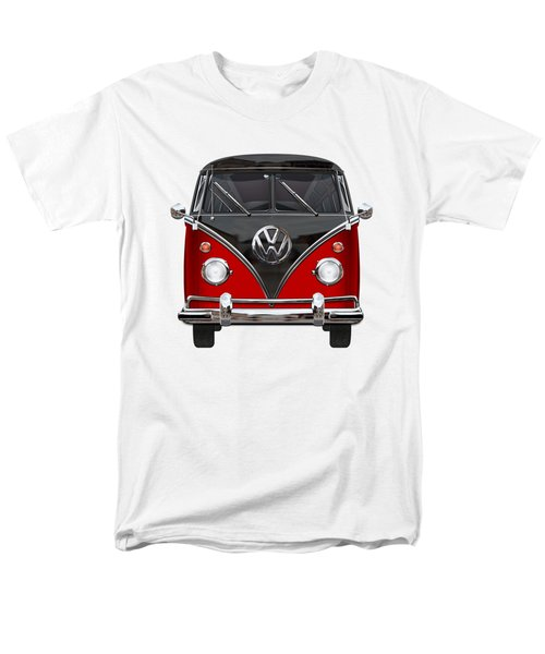 Volkswagen Type 2 - Red And Black Volkswagen T 1 Samba Bus On White  Men's T-Shirt  (Regular Fit) by Serge Averbukh