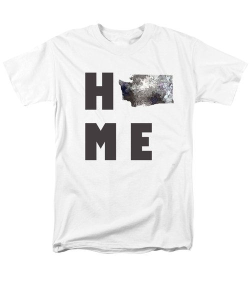 Men's T-Shirt  (Regular Fit) featuring the digital art Washington State Map by Marlene Watson