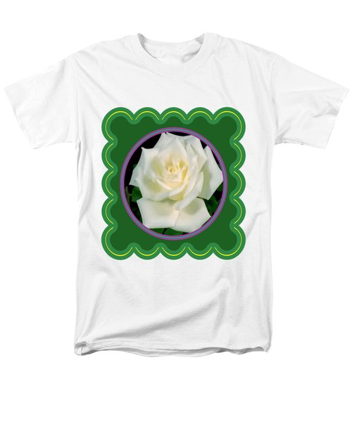 White Rose Flower Floral Posters Photography And Graphic Fusion Art Navinjoshi Fineartamerica Pixels Men's T-Shirt  (Regular Fit) by Navin Joshi