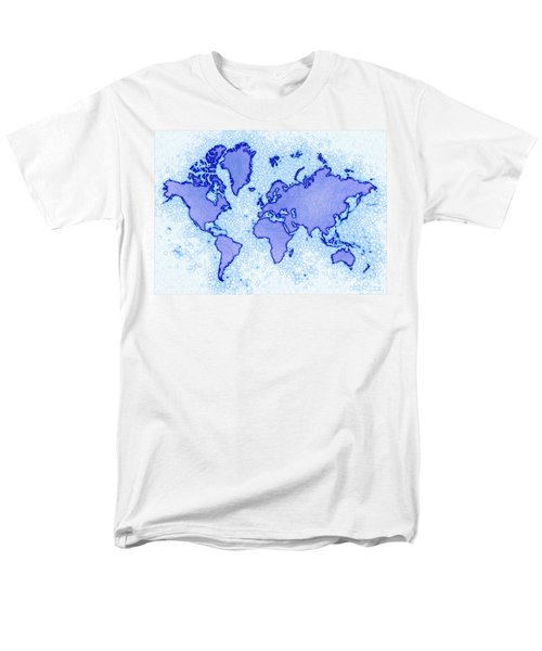 World Map Airy In Blue And White Men's T-Shirt  (Regular Fit) by Eleven Corners