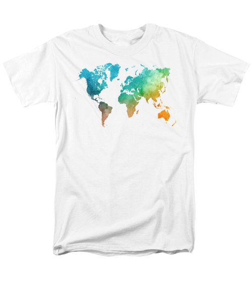 World Map In Watercolor  Men's T-Shirt  (Regular Fit) by Pablo Romero