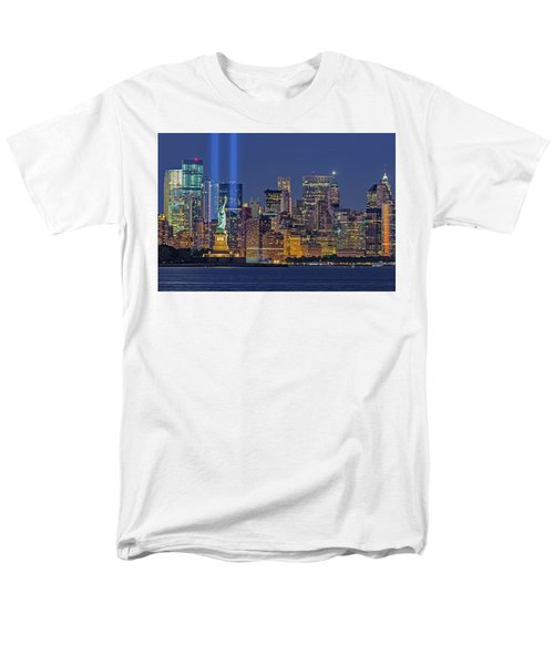 Men's T-Shirt  (Regular Fit) featuring the photograph World Trade Center Wtc Tribute In Light Memorial II by Susan Candelario