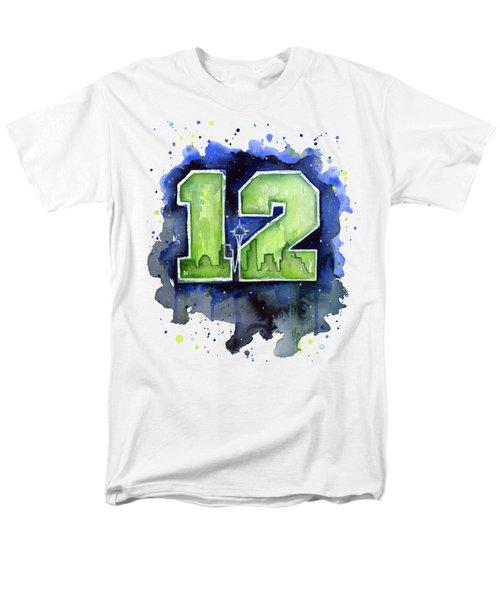 12th Man Seahawks Art Seattle Go Hawks Men's T-Shirt  (Regular Fit) by Olga Shvartsur