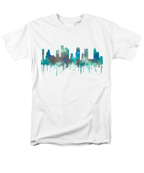 Men's T-Shirt  (Regular Fit) featuring the digital art Houston Texas Skyline by Marlene Watson