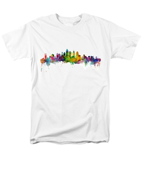 Philadelphia Pennsylvania Skyline Men's T-Shirt  (Regular Fit) by Michael Tompsett