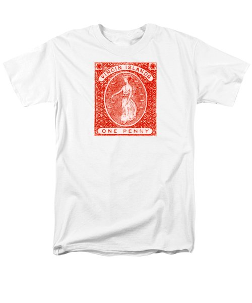 Men's T-Shirt  (Regular Fit) featuring the painting 1858 Virgin Islands Stamp by Historic Image