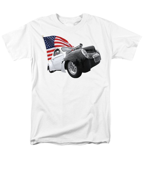 Men's T-Shirt  (Regular Fit) featuring the photograph 1941 Willys Coupe With Us Flag by Gill Billington