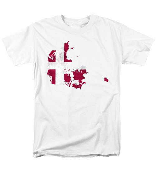Denmark Map Art With Flag Design Men's T-Shirt  (Regular Fit) by World Art Prints And Designs