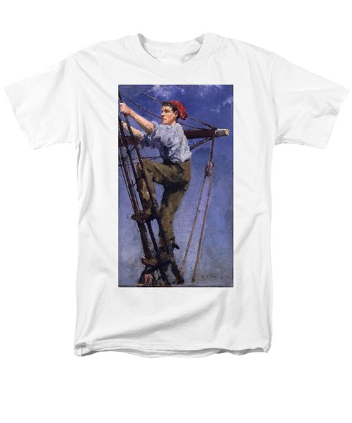 Men's T-Shirt  (Regular Fit) featuring the painting Going Aloft by Henry Scott Tuke