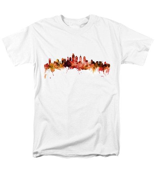 Philadelphia Pennsylvania Skyline Men's T-Shirt  (Regular Fit) by Michael Tompsett