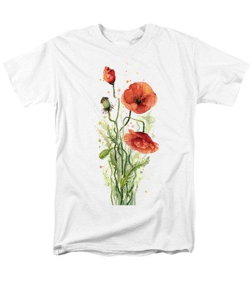 Red Poppies Watercolor Men's T-Shirt  (Regular Fit) by Olga Shvartsur
