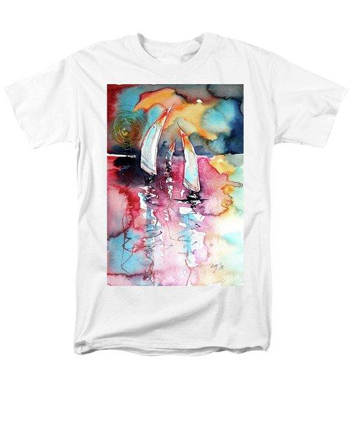 Men's T-Shirt  (Regular Fit) featuring the painting Sailboats by Kovacs Anna Brigitta