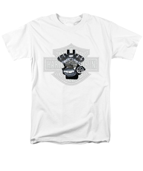 Men's T-Shirt  (Regular Fit) featuring the digital art 2002 Harley-davidson Revolution Engine With 3d Badge  by Serge Averbukh