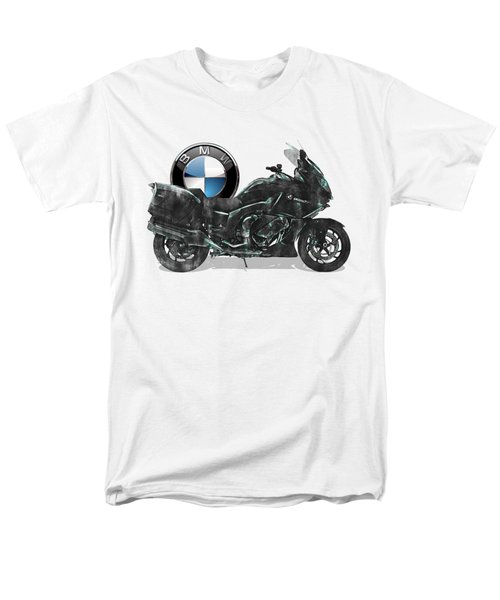 Men's T-Shirt  (Regular Fit) featuring the digital art 2016 Bmw-k1600gt Motorcycle With 3d Badge Over Vintage Blueprint  by Serge Averbukh