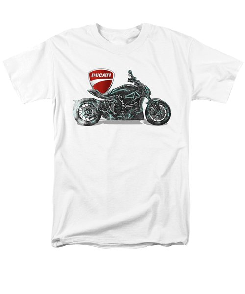 Men's T-Shirt  (Regular Fit) featuring the digital art 2017 Ducati Xdiavel-s Motorcycle With 3d Badge Over Vintage Blueprint  by Serge Averbukh