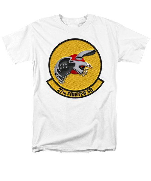 27th Fighter Squadron - 27 Fs Patch Over White Leather Men's T-Shirt  (Regular Fit) by Serge Averbukh