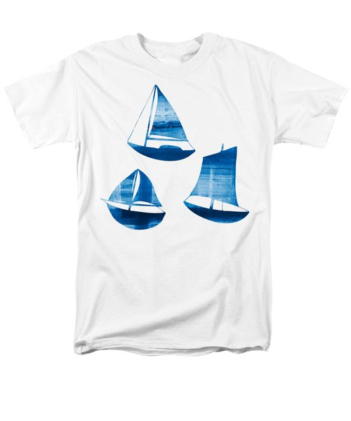 3 Little Blue Sailing Boats Men's T-Shirt  (Regular Fit) by Frank Tschakert