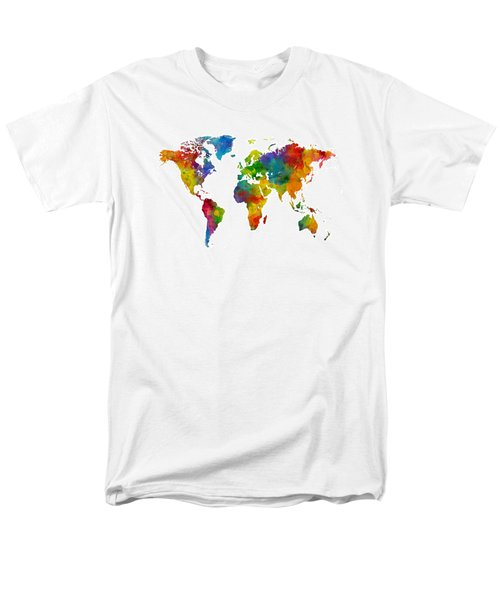 Map Of The World Map Watercolor Men's T-Shirt  (Regular Fit) by Michael Tompsett