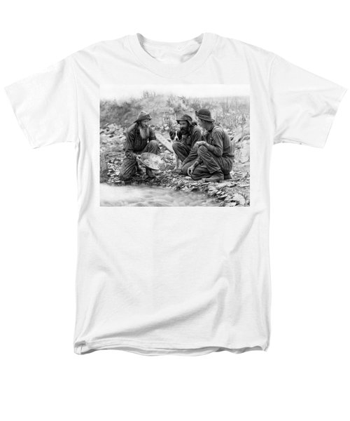3 Men And A Dog Panning For Gold C. 1889 Men's T-Shirt  (Regular Fit) by Daniel Hagerman
