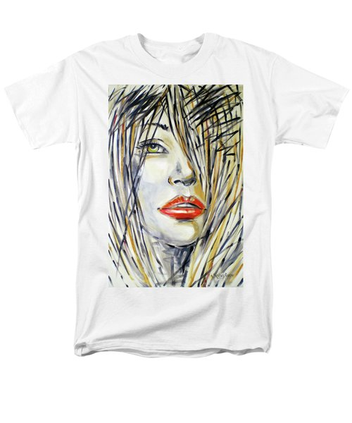 Men's T-Shirt  (Regular Fit) featuring the painting Red Lipstick 081208 by Selena Boron