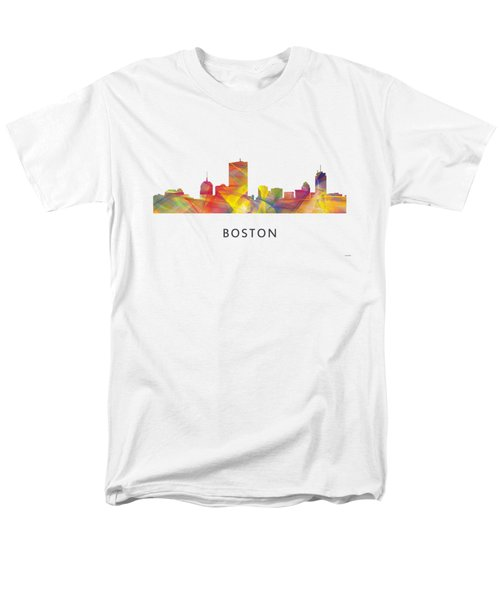 Boston Massachusetts Skyline Men's T-Shirt  (Regular Fit) by Marlene Watson