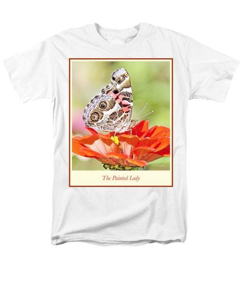 Painted Lady Butterfly On Zinnia Flower Men's T-Shirt  (Regular Fit) by A Gurmankin