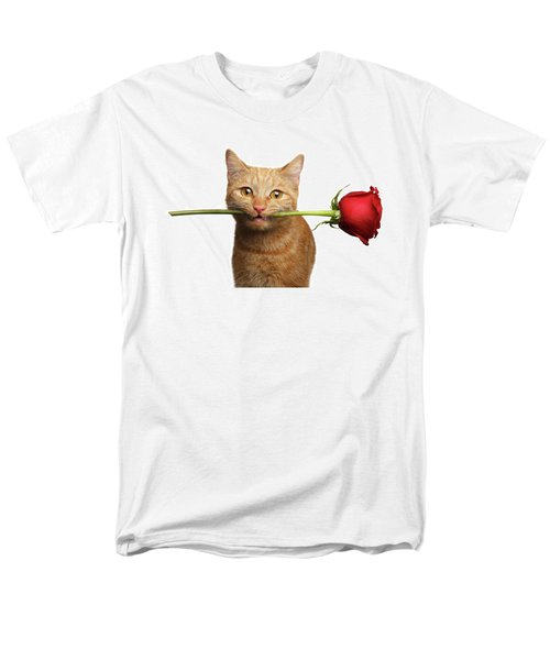 Portrait Of Ginger Cat Brought Rose As A Gift Men's T-Shirt  (Regular Fit) by Sergey Taran