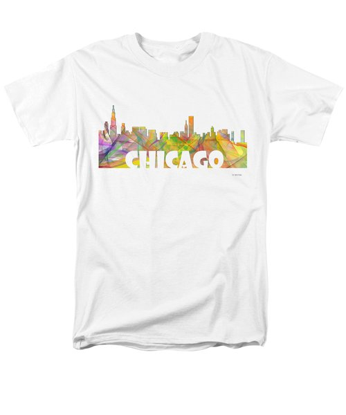 Chicago Illinois Skyline Men's T-Shirt  (Regular Fit) by Marlene Watson