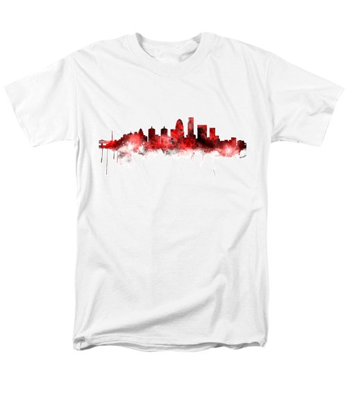 Louisville Kentucky City Skyline Men's T-Shirt  (Regular Fit) by Michael Tompsett