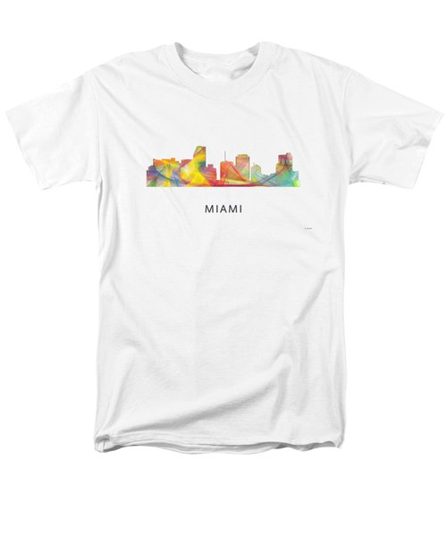 Miami Florida Skyline Men's T-Shirt  (Regular Fit) by Marlene Watson