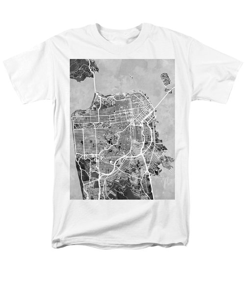 San Francisco City Street Map Men's T-Shirt  (Regular Fit) by Michael Tompsett