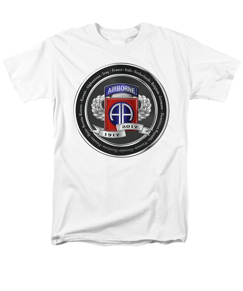 Men's T-Shirt  (Regular Fit) featuring the digital art 82nd Airborne Division 100th Anniversary Medallion Over White Leather by Serge Averbukh