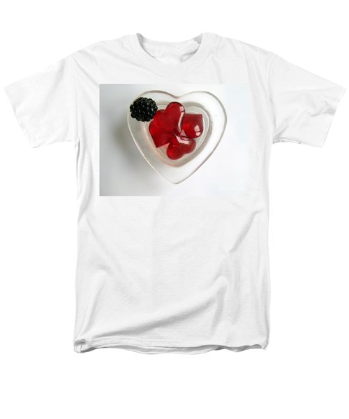 Men's T-Shirt  (Regular Fit) featuring the photograph A Bowl Of Hearts And A Blackberry by Ausra Huntington nee Paulauskaite