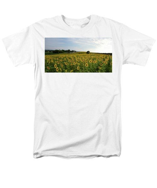Men's T-Shirt  (Regular Fit) featuring the photograph A Field Of Sunflowers by Janice Adomeit