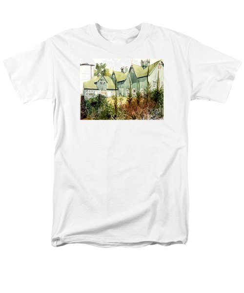 An Old Wooden Barn Painted Green With Silo In The Sun Men's T-Shirt  (Regular Fit) by Greta Corens