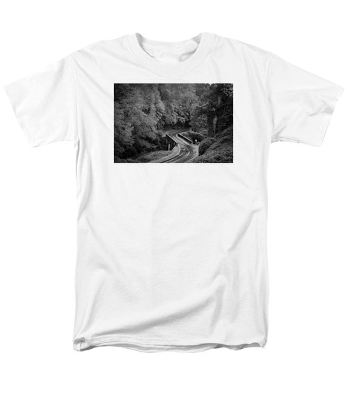 A Wet And Twisty Road Through The Blue Ridge Mountains In Black And White Men's T-Shirt  (Regular Fit) by Kelly Hazel