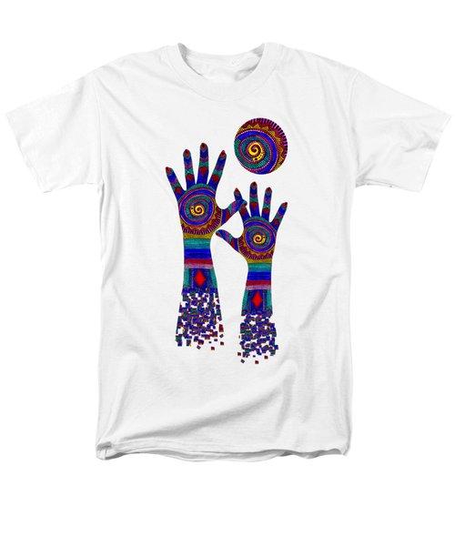 Aboriginal Hands Blue Transparent Background Men's T-Shirt  (Regular Fit) by Barbara St Jean