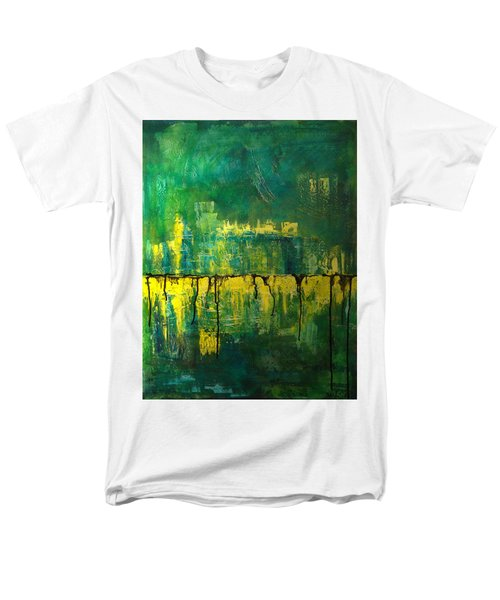Men's T-Shirt  (Regular Fit) featuring the painting Abstract In Yellow And Green by Jocelyn Friis