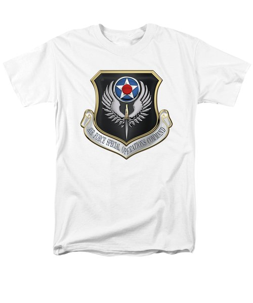 Air Force Special Operations Command -  A F S O C  Shield Over White Leather Men's T-Shirt  (Regular Fit) by Serge Averbukh