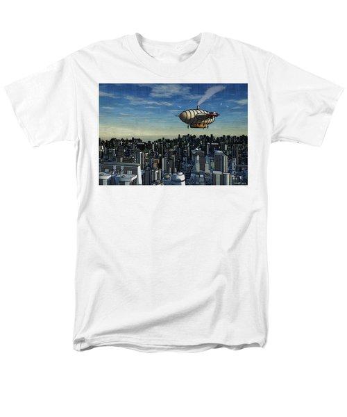 Airship Over Future City Men's T-Shirt  (Regular Fit) by Ken Morris
