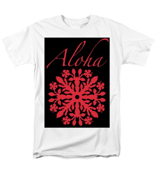 Aloha Red Hibiscus Quilt T-shirt Men's T-Shirt  (Regular Fit) by James Temple