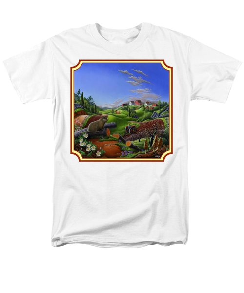Americana Decor - Springtime On The Farm Country Life Landscape - Square Format Men's T-Shirt  (Regular Fit) by Walt Curlee