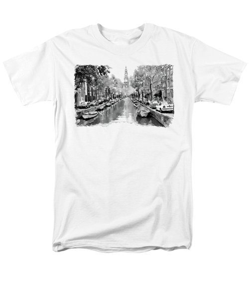 Amsterdam Canal 2 Black And White Men's T-Shirt  (Regular Fit) by Marian Voicu