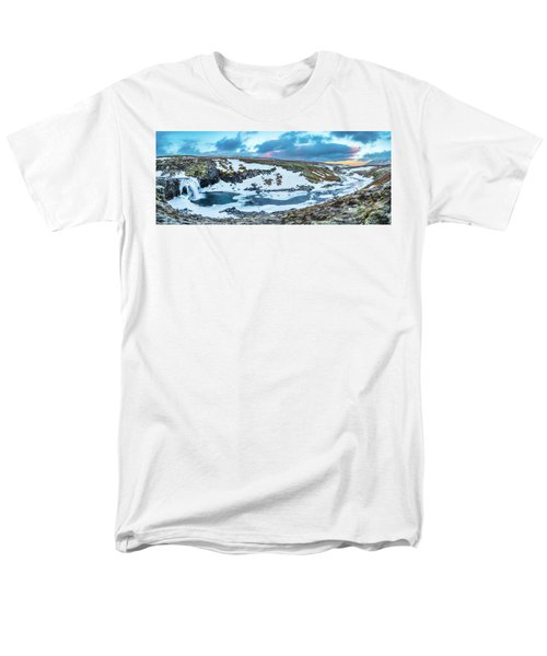 An Icy Waterfall Panorama During Sunrise In Iceland Men's T-Shirt  (Regular Fit) by Joe Belanger